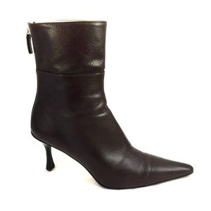 Gucci Brown Bootie Ankle Boot Leather Pointed Toe